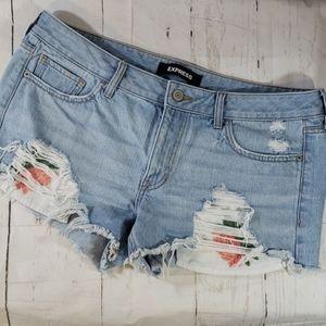 Express denim floral cut off shorts Low rise 12